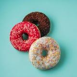 Donuts на голубой предпосылке Стоковая Фотография RF