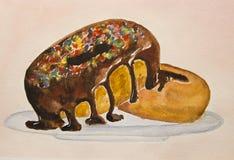 2 donuts на плите, домодельные печенья шоколада для десерта Стоковые Фото