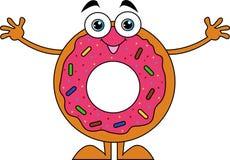 donuts стиля шаржа с розовой замороженностью бесплатная иллюстрация