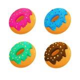 Donuts установленные с различным вектором вкусов Стоковые Изображения RF