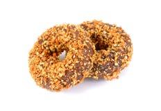 Donuts шоколада миндалины, донут шоколада чокнутый на белизне Стоковые Изображения