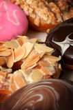 Donuts. Closeup donuts in different flavors stock photography