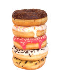 Donuts. Stacked donuts with different flavours and sprinkles Stock Photos