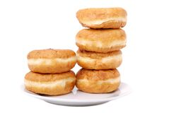 Donuts. On a plate isolated on white background Royalty Free Stock Image