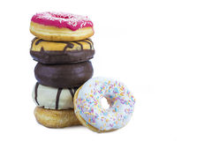 Donuts assortment isolated on a white background Stock Photography