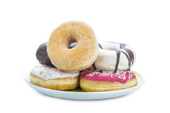 Donuts assortment isolated on a white background Royalty Free Stock Photos