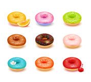 Donuts Assortment Set. Sweet colorful donuts with various toppings and fresh fruit assortment set isolated on white background realistic vector illustration Royalty Free Stock Photos