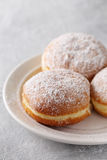 Donuts berlinera on a plate. Close-up Stock Photography