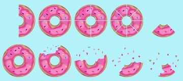 Donuts, bitten pieces of a donut. Cutted donut on different parts . Flat design,  illustration Stock Photo