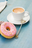 Donuts with black  espresso coffee Royalty Free Stock Photos