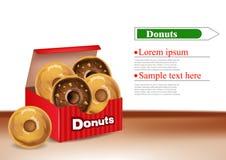 Donuts box Vector realistic. 3d deliclous dessert illustrations. Donuts box Vector realistic. 3d deliclous dessert illustration Stock Photos