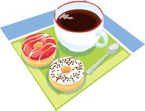 Donuts breakfast. Illustration of six delicious donuts Stock Photography