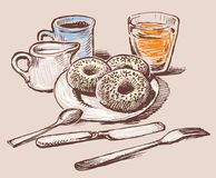Donuts for a breakfast vector illustration