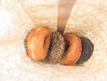 Donuts in a brown bag Royalty Free Stock Photography