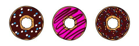 Donuts with brown chocolate and pink glaze vector illustration