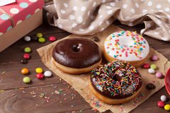 Donuts and candies Stock Photo