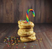 Donuts with caramel and color confectionery powder Stock Photography