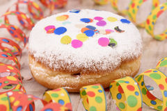 Donuts at carnival with confetti Royalty Free Stock Images