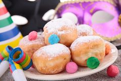 Donuts and carnival decoration Royalty Free Stock Photography