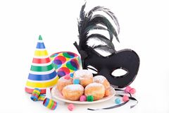 Donuts and carnival decoration Royalty Free Stock Photos