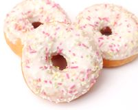 Donuts with chocolate and candies Royalty Free Stock Photos