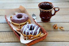 Donuts with chocolate frosting Royalty Free Stock Photo