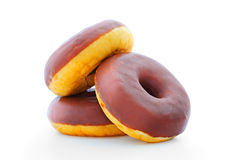 Donuts with chocolate icing Royalty Free Stock Image