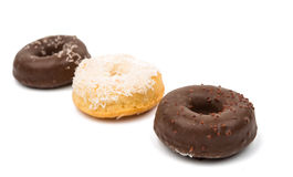 Donuts with chocolate isolated Royalty Free Stock Images