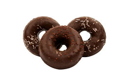 Donuts with chocolate isolated Royalty Free Stock Photography