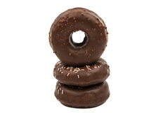 Donuts with chocolate isolated Royalty Free Stock Photos
