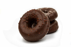 Donuts with chocolate isolated Stock Photos