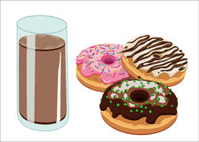 Donuts and chocolate milk Royalty Free Stock Photo
