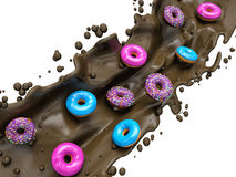 Donuts and chocolate splashes Stock Photo