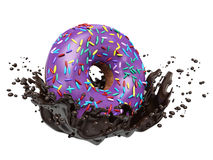 Donuts and chocolate splashes Stock Images