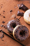 Donuts with cocoa powder and chocolate Stock Photography
