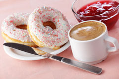 Donuts with coffee Royalty Free Stock Images