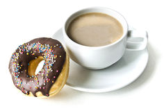 Donuts and coffee cup Stock Images