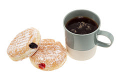 Donuts and coffee. Jam donuts and cup of coffee isolated on white background Stock Images
