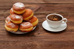 Donuts and coffee. Top sweet coffee every morning adds fun for the whole day Stock Image