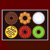 Donuts Collection Icons Set in Box. Vector Royalty Free Stock Photo
