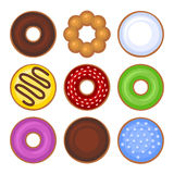 Donuts Collection Icons Set on White Background Royalty Free Stock Photo