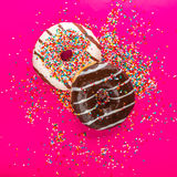 Donuts on color background. Stock Photography