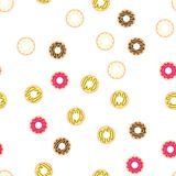Donuts with colored glaze on pattern background. Pattern donuts with chocolate and fruit glaze. Donut pattern on white Stock Photos