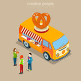 Donuts cookie bakery cafe fast street food isometric vector flat Royalty Free Stock Images