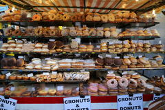 Donuts and Cronuts stall at Camden Town. One of the food stalls at Camden Town, London Royalty Free Stock Image