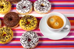 Donuts with cup of coffee Royalty Free Stock Photography
