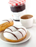 Donuts with cup of coffee Stock Photo