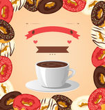 Donuts with cup of coffee on beige Royalty Free Stock Photo