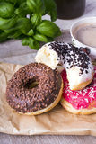 Donuts and cup of coffee Royalty Free Stock Photo