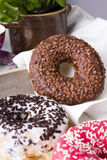 Donuts and cup of coffee Stock Image